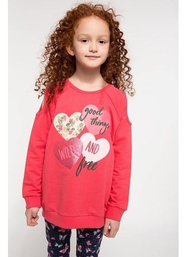 DeFacto Kalp Baskılı Sweatshirt Kırmızı